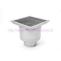 Stainless steel profi square floor gully 400x400 with vertical outlet-