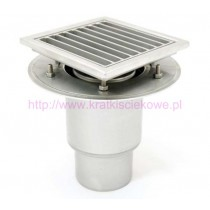 Stainless steel profi telescopic square floor gully 400x400 with vertical outlet-