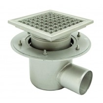 Stainless steel profi telescopic square floor gully 300x300 with side outlet -
