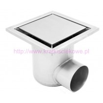 Stainless steel profi square floor gully 250x250 with side outlet-